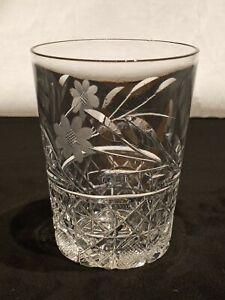 """Antique Glass Tumbler American Brilliant Period 4"""" Cornflower Cut"""