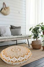 Cover Floor Pillow Ombre Mandala Cushion Pouf Indian Throw Ottoman Round Cover