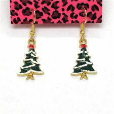 Christmas Tree Pearl Women Stand Earrings New Betsey Johnson Green Enamel Cute