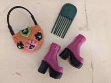 Barbie MY SCENE & other doll SHOES Purple Boots & PURSE SET lot #7