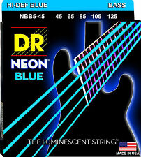 DR NBB5-45 5 string Hi-Def Neon Blue Coated Bass Guitar Strings 45-125 MED