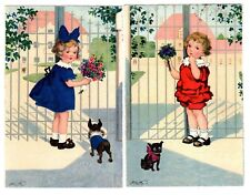POSTCARDS (2) GERMAN GIRLS WITH DOGS 1928 MEISSNER & BUCH