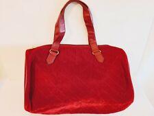 Womens Tote Duffle Travel Bag Red Diamond Quilt Velvet Double Straps
