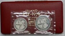 More details for 1974 iceland 500 and 1000 kronur silver proof coin set
