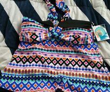 OCEAN AVENUE M Tankini Top Halter Neck Tie Side Bone NWT Manhattan Beachwear NWT