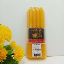"1Set 9 Beeswax Tea Light Yellow 7"" Candles Worship Holy Buddha Statue Home Decor"