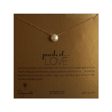 """Dogeared LARGE 9 mm Pearl 14K Gold Fill 18"""" Chain Pearls of Love Necklace Boxed"""
