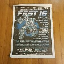 FEST 16 NEWSPAPER POSTER, AGAINST ME, HOT WATER MUSIC, PEGBOY, SUPERCHUNK