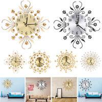 Modern 3D Luxury Art Metal Living Room Round Diamond Wall Large Clock Home Decor