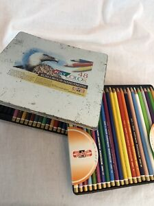 Set of 43 Koh-I-Noor Poly Color Hardtmuth Colored Pencils in Tin Gently Used