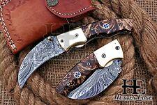 HUNTEX Custom Handmade Damascus 10.5 cm Long Hawkbill Blade Hunting Pocket Knife