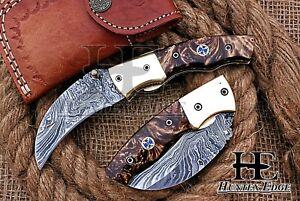 HUNTEX Custom Handmade Damascus 105 mm Long Hawkbill Blade Hunting Pocket Knife