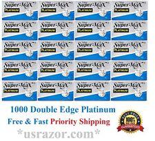 1000 Super Max Double Edge Platinum Blades Fits Gillette Schick Razor UK Barber