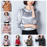 Womens Faux Satin Silk Shirt Retro Pleated Long Sleeve Shiny Blouse Pullover Top