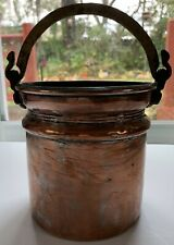 Vintage Primitive Copper Bucket Pot, with Brass Handle, Brass Dovetailed Joints