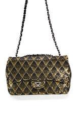 Chanel Para Mujer Negro Lentejuelas De Oro Bolsa de solapa con 2017