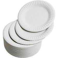 100 White Disposable Paper Plates 7-Inch 18cm for BBQ Wedding and Parties