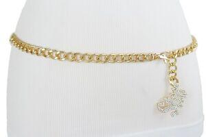 Women Rodeo Bling Silver STAR Charm Gold Metal Chain Belt Hip Waist Plus XL XXL