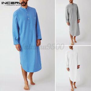 Mens Plain 100%Cotton Linen Pajamas Dress Baggy Kaftan Dress Sleepwear Loungwear