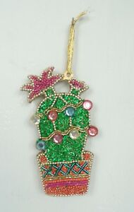 Christmas Ornament Cactus Succulent Palnt Sparkly Beads Pink Green Holiday Decor
