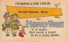 """Having A Fine Time"" in Grand Rapids Michigan~Have A Flirt With Local Skirt~1915"