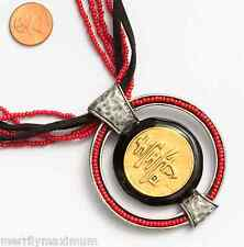 Chico's Signed Necklace Silver & Gold Tone Black Enamel Red Bead Chinese Symbols