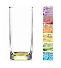 6 Stück Longdrink Gläser mit farbigem Boden / Trinkgläser / Wassergläser - 250ml