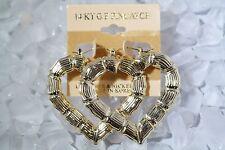 14KT Gold Pincatch Heart Bamboo Hoop Earrings KT H1
