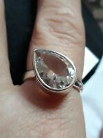 Optic Quartz Sterling Silver Ring Size P to Q 5.50cts