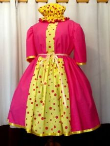 Yellow spot and pink Pantomime Dame Costume Theatre Stage Panto Outfit Used