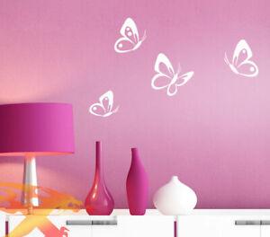 Wandtattoo Wandaufkleber Wandsticker Schmetterlinge 4er Set Wohnzimmer W3069