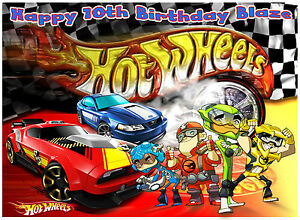 A4 TEAM HOT WHEELS SPORTS RACING CARS EDIBLE ICING BIRTHDAY PARTY CAKE TOPPER