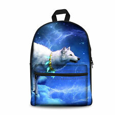 Mens Canvas Backpack White Wolf Medium Hiking Back Packs Satchel Bags for School