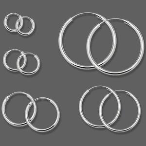 1 Paar Creolen aus 925 sterling Silber Ohrringe Creole 8 10 12 bis 75 mm silbern