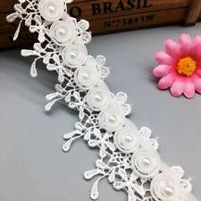 1yd Chiffon Beads Pearl Lace Trim Tassel Wedding Ribbon Embroidered Sewing Craft