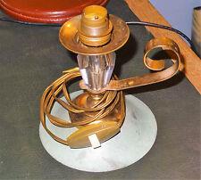 Pied de lampe moderniste design verre laiton patiné vert dlg Adnet 1960's