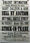 1898 Old Antique 19th Century Poster Carlisle Dalton & Son Sale by Auction Rare