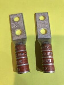 "BURNDY YA272TC38 2 Hole Compress Connector,3/0 Awg 3/8"" Strip 1 1/2"" NEW Lot 20"