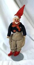 Circus Clown Doll Antique Composition Cloth Felt Original Clothes c1920 Rare