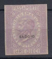 1863 VITTORIO EMANUELE II MARCA DA BOLLO SAGGIO 10 LIRE G.O MH* TRACCE DI GOMMA