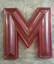 """10"""" Tall Vintage Translucent Red Movie Marquee Letter """"M"""""""
