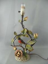 ANTIQUE VTG ITALIAN METAL TOLE BIRD & ROSES FLOWERS and LEAVES TABLE LAMP