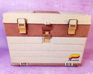 Vintage PLANO 757 Tackle Box 4 Drawers Fishing Lures Gladding Filet Knife More