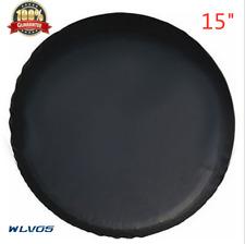 "15"" trailer Spare tire tyre Wheel Cover Pure black Heavy Duty Vinyl Material S12"