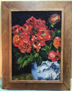 J Kos Circa 1950s Vase Of Roses Framed Oil Painting