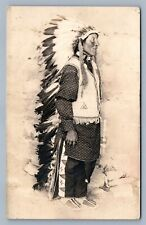 AMERICAN INDIAN CHIEF IN FULL DRESS ANTIQUE REAL PHOTO POSTCARD RPPC