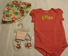 Gymboree 0-3 month Spring Smiles Bodysuit Hat Size 01 Sandals NWT Outfit
