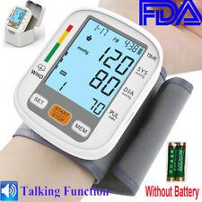 Portable Auto Wrist Blood Pressure Monitor Machine BP Cuff Voice Backlight Meter