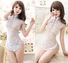 Costume Completo Cheongsam Bianco Lingerie Velato Perizoma Pizzo Completino Sexy