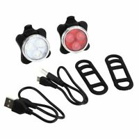 USB Rechargeable LED Bike Lights Set Headlight Taillight Bicycle (FRONT + REAR)